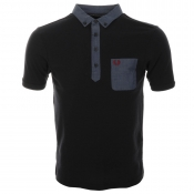 Fred Perry Woven Trim Polo T Shirt Navy