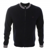 Fred Perry Vintage Zip Up Knitted Jumper Navy