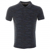 Armani Jeans Patterned Polo T Shirt Navy