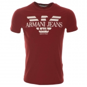 Armani Jeans Logo T Shirt Red