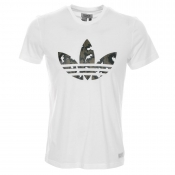 Adidas Originals Camo Trefoil T Shirt White