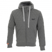 Superdry Quilted Hooded Zip Jumper Grey