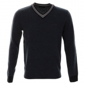 Fred Perry Fleck Knit Tennis Jumper Blue