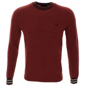 Fred Perry Fleck Knit Jumper Red