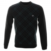 Fred Perry Tartan Front Knit Jumper Black