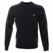 Fred Perry Tartan Sleeve Knit Jumper Navy
