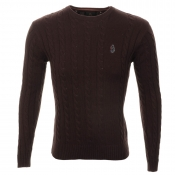 Luke 1977 Hortons Cable Knit Jumper Jet Plum