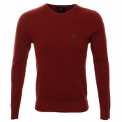 Luke 1977 Groucho Crew Neck Jumper Burnt Red