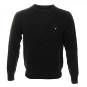 Gant Solid Lambswool Crew Neck Jumper Black