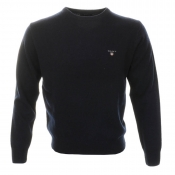 Gant Solid Lambswool Crew Neck Jumper Navy