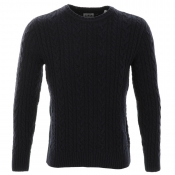 Edwin Oiler Cable Knit Jumper Navy