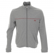 HUGO BOSS Black Full Zip Jumper Grey Marl