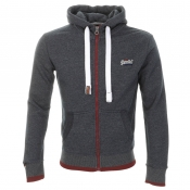 Superdry Orange Label Zip Hooded Jumper Navy