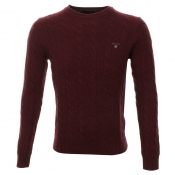 Gant Lambswool Cable Crew Neck Jumper Burgundy