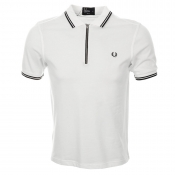 Fred Perry Slim Fit Zip Placket Polo T Shirt White