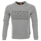 HUGO BOSS Orange Wacce Sweatshirt Jumper Grey Marl