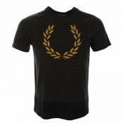 Fred Perry Polka Dot Laurel T Shirt Navy